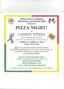 Sons of Italy Watsonville Lodge #2016 @ Pizza Night Scholarship Fundraiser